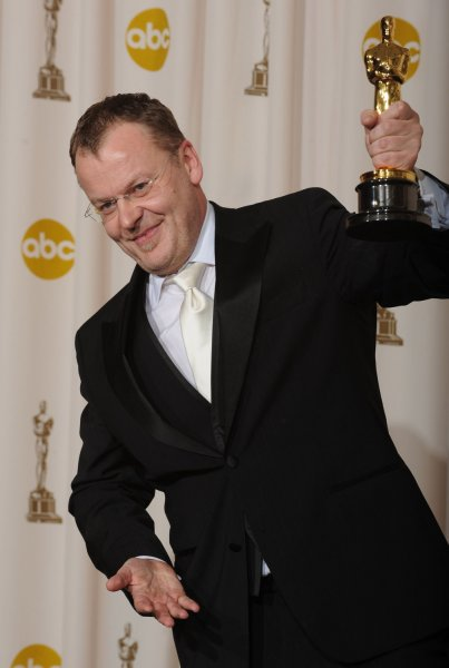 Director Stefan Ruzowitzky holds the Oscar he won for best foreign language film for The Counterfeiters at the 80th Academy Awards in Hollywood on February 24, 2008. (UPI Photo/Jim Ruymen)