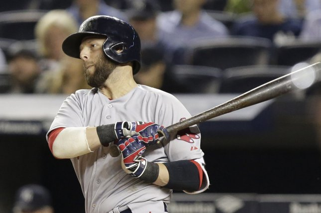 Boston's Pedroia day to day after taking pitch off ribs