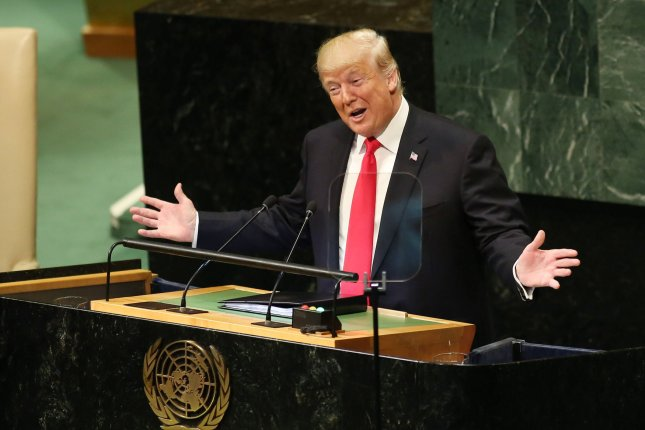 U.S. President Donald Trump speaks Monday at the United Nations General Assembly in New York. Photo by Monika Graff/UPI