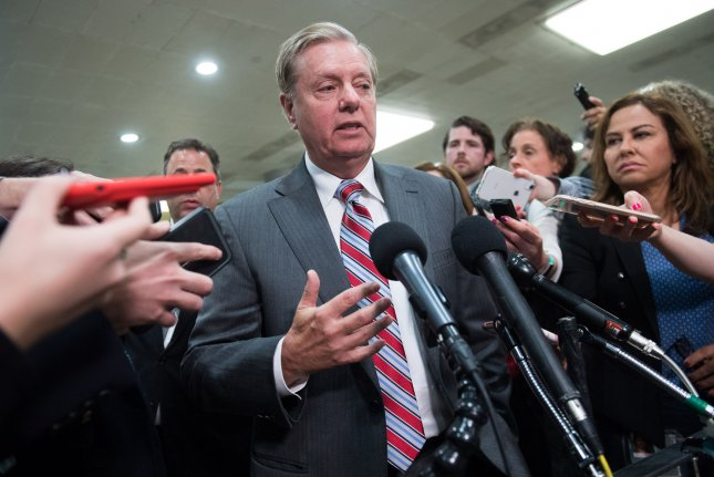 Sen. Lindsey Graham, R-S.C., joined Democrats in a series of resolutions Thursday blocking the Trump administration's $8.1 billion arms deal with Saudi Arabia and two other countries. Photo by Kevin Dietsch/UPI