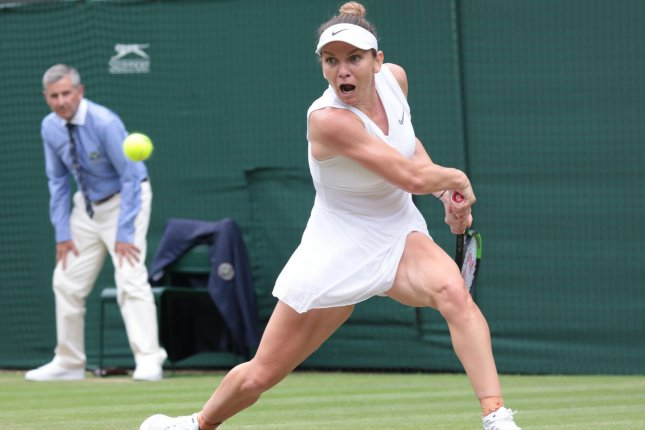 Simona Halep will become the first Romanian woman to play in a Wimbledon final when she takes the court Saturday at the All-England Club in London. Photo by Hugo Philpott/UPI