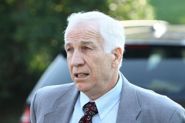 Jerry Sandusky, shown during his trial in 2012, was resentenced to the maximum penalty Friday for sex assault. File Photo by George M Powers/UPI