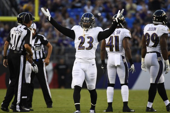 Former Baltimore Ravens safety Tony Jefferson (23), shown Aug. 26, 2017, hasn't been on the field since suffering a torn ACL in 2019. File Photo by David Tulis/UPI