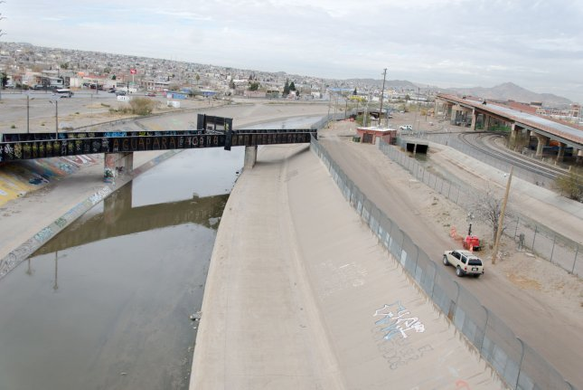 The border between El Paso, Texas, and Juarez, Mexico, is separated by the Rio Grande river and a chain link fence on the U.S. side as seen from the Paso Del Norte bridge on January 10, 2019. File Photo by Natalie Krebs/UPI