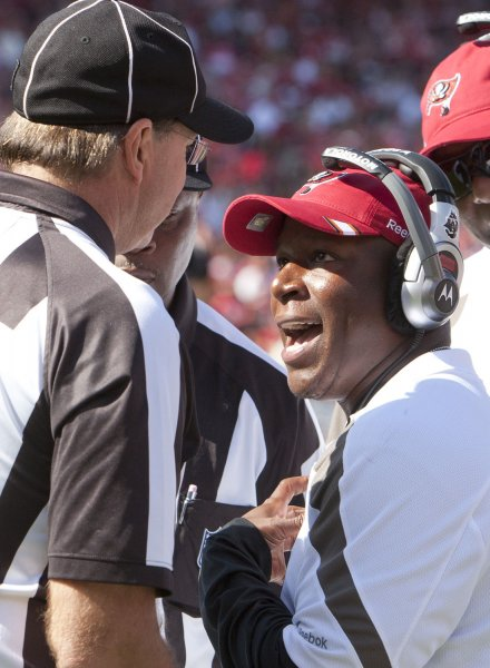 Tampa Bay Buccaneers Coach Raheem Morris, shown in a game in October 2011, was fired Monday. UPI/Terry Schmitt