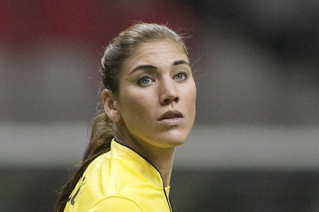USA's goalie Hope Solo faces up to six months in jail for a domestic incident in June. UPI/Heinz Ruckemann