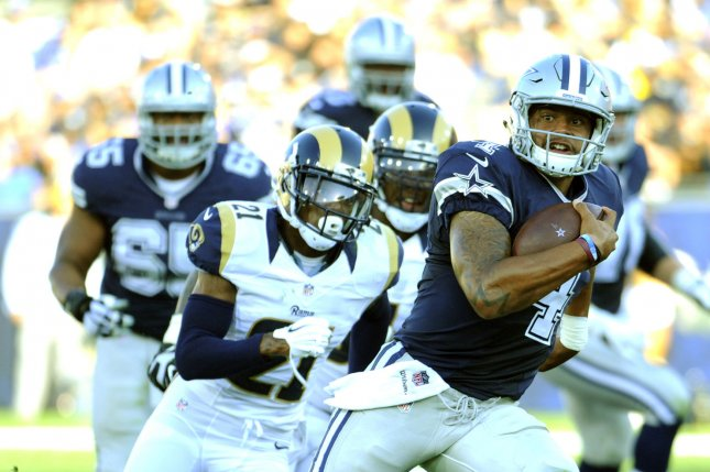 Dallas Cowboys quarterback Dak Prescott runs the ball for a gain against the Los Angeles Rams in the second quarter of a preseason game at the Los Angeles Coliseum on August 13, 2016. Photo by Lori Shepler/UPI