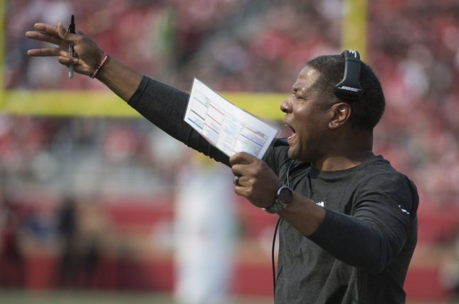 Arizona Cardinals head coach Steve Wilks yells to his team in the first quarter against the San Francisco 49ers on Sunday at Levi's Stadium in Santa Clara, California. Photo by Terry Schmitt/UPI