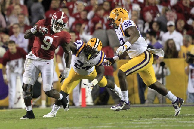 LSU Tigers linebacker Devin White (24) declared for the 2019 NFL Draft on Monday. File photo by AJ Sisco/UPI