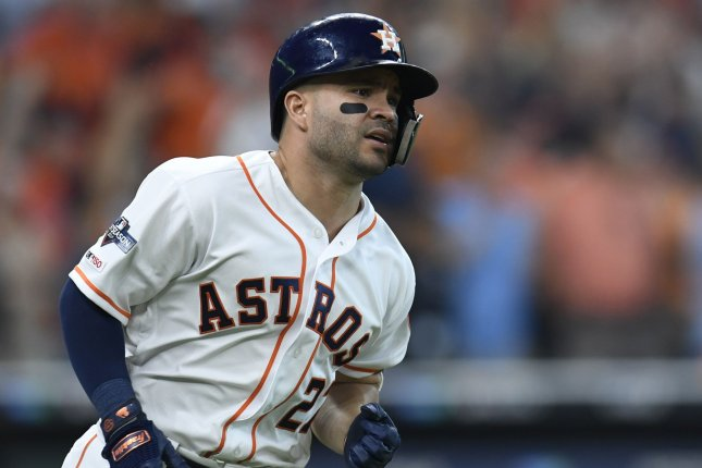 Houston Astros infielder Jose Altuve (pictured) and Alex Bregman each offered an apology Thursday for the Astros' illegal sign-stealing operation used in 2017 and 2018. Altuve and Bregman previously showed no remorse for the team's actions. File Photo by Trask Smith/UPI