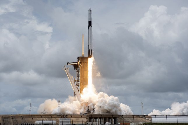 A SpaceX Falcon 9 rocket lifts off from Kennedy Space Center in Florida on Thursday, carrying cargo for the International Space Station. Photo by Joe Marino/UPI