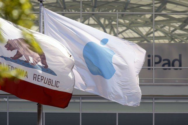 The Apple flag flies over the corporate campus in Cupertino, California on April 23, 2010. A rise in Apple share prices has the company looking to pass Microsoft and become the second largest corporation in the US. UPI/Mohammad Kheirkhah