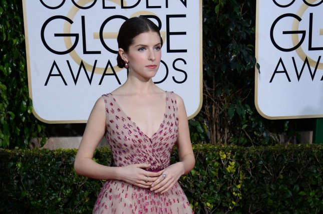 Actress Anna Kendrick will be a presenter at the Grammy Awards Sunday. She is pictured here at the 72nd annual Golden Globe Awards in Beverly Hills, Calif., on Jan. 11, 2015. Photo by Jim Ruymen/UPI
