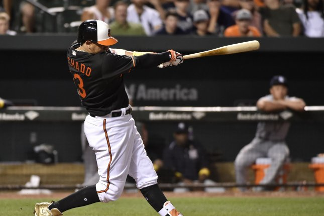 Baltimore Orioles' Manny Machado connects with the ball. File photo by David Tulis/UPI