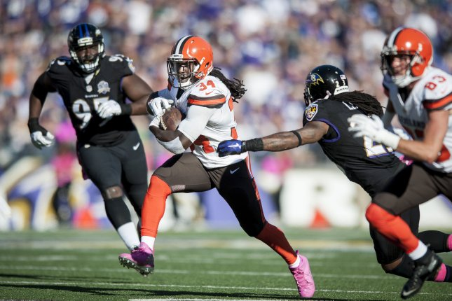 Cleveland Browns running back Isaiah Crowell runs the ball during fourth-quarter action against the Baltimore Ravens. File photo by Pete Marovich/UPI