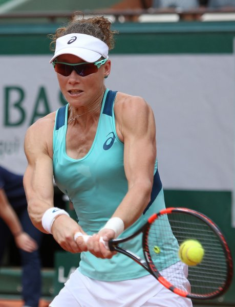 Samantha Stosur returns a shot during a recent match in Paris. A hand injury will cause her to skip the U.S. Open. Photo by David Silpa/UPI