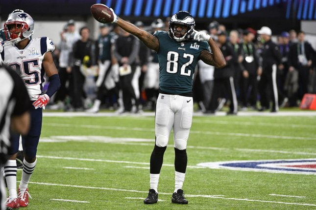 Philadelphia Eagles wide receiver Torrey Smith (82) celebrates a first down during the first half of Super Bowl LII on February 4, 2018 at U.S. Bank Stadium in Minneapolis, Minnesota. Photo by Brian Kersey/UPI