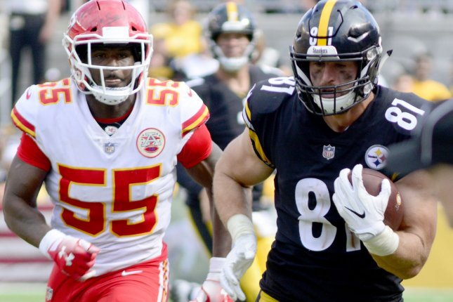 Pittsburgh Steelers tight end Jesse James (81) catches and runs for a gain of 46 yards in the fourth quarter of the Chiefs 42-37 win against the Pittsburgh Steelers in Pittsburgh on September 16, 2018. Photo by Archie Carpenter/UPI