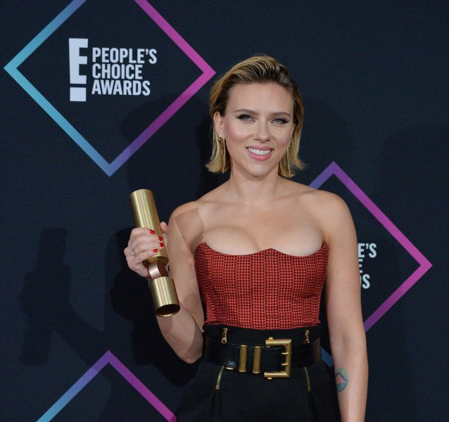 Scarlett Johansson appears backstage with her award for Female Movie Star of 2018 for Avengers's: Infinity War during the 44th annual E! People's Choice Awards on Sunday. Photo by Jim Ruymen/UPI