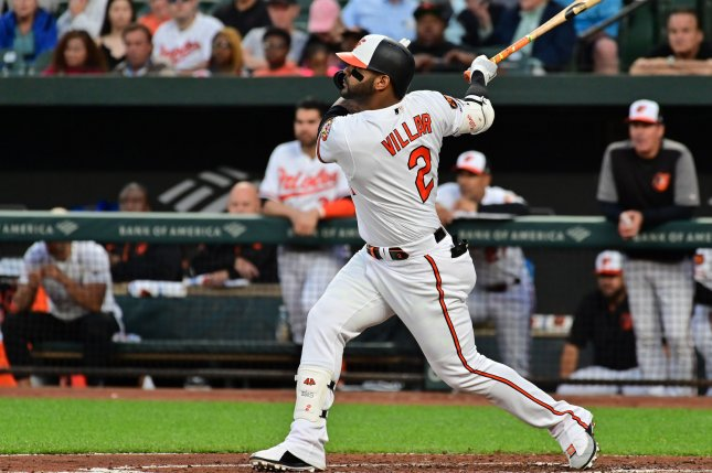Baltimore Orioles second baseman Jonathan Villar plated the only runs for his squad in a win against the Boston Red Sox on Monday in Baltimore. Photo by David Tulis/UPI
