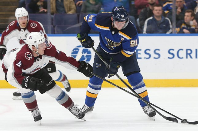 Tyson Barrie (4) had 14 goals and a career-high 45 assists in 78 games last season for the Colorado Avalanche. File Photo by Bill Greenblatt/UPI