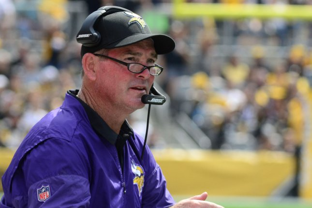 Minnesota Vikings head coach Mike Zimmer's contract was set to expire after the 2020 season. File Photo by Archie Carpenter/UPI