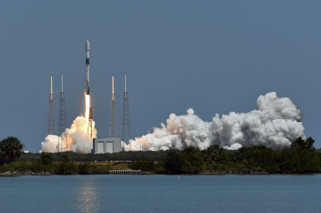 A SpaceX Falcon 9 rocket launches the company's 24th set of Starlink satellites at 12:34 p.m. EDT from Cape Canaveral Space Force Station in Florida on Wednesday. Photo by Joe Marino/UPI