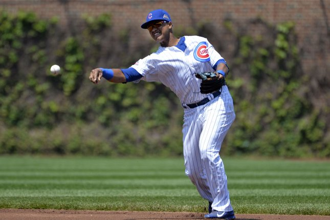 Chicago Cubs shortstop Starlin Castro throws out New York Yankees' Derek Jeter after Jeter hit a ground ball to him during the first inning at Wrigley Field on May 21, 2014 in Chicago. UPI/Brian Kersey