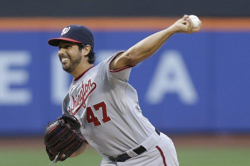 Washington Nationals starting pitcher Gio Gonzalez. Photo by John Angelillo/UPI