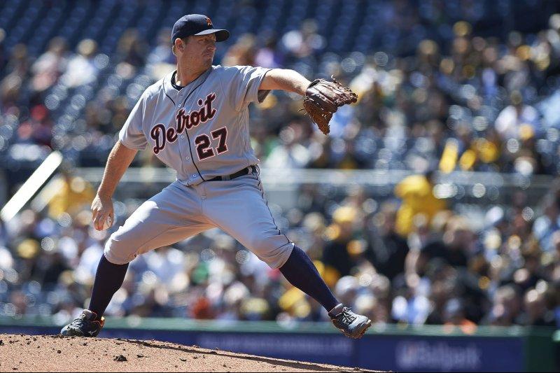 Detroit Tigers starting pitcher Jordan Zimmermann (27). Photo by Shelley Lipton/UPI