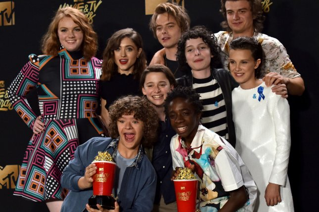 Cast of Stranger Things appears backstage with the Show of the Year prize during the MTV Movie & TV Awards in Los Angeles on May 7. Gaten Matarazzo and Noah Schnapp will appear on this week's episode of Lip Sync Battle. Photo by Christine Chew/UPI