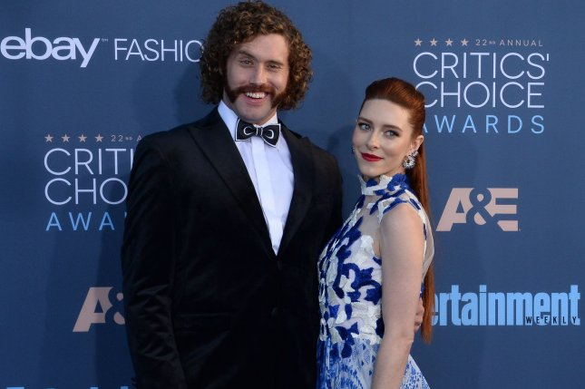 Host T.J.Miller and actress Kate Gomey attend the 22nd annual Critics' Choice Awards in Santa Monica on December 11. Miller is leaving Silicon Valley after four seasons. File Photo by Jim Ruymen/UPI