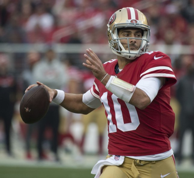San Francisco 49ers QB Jimmy Garoppolo drops back to pass in a game against the Jacksonville Jaguars on December 24. Photo by Terry Schmitt/UPI