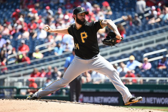Pittsburgh Pirates pitcher Trevor Williams delivers a pitch in the first inning against the Washington Nationals on May 3, 2018 at Nationals Park in Washington, D.C. Photo by Pat Benic/UPI
