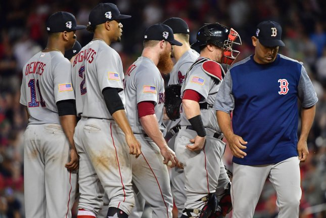 Boston Red Sox manager Alex Cora (R) meets with his team on the mound as they play the Washington Nationals on July 2 at Nationals Park in Washington, D.C. Photo by Kevin Dietsch/UPI