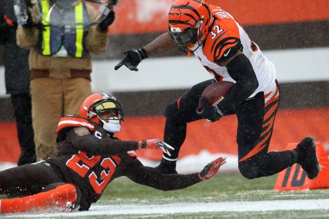 Jeremy Hill began his career with the Cincinnati Bengals before signing with the New England Patriots this offseason. He will receive a Super Bowl ring after his team beat the Los Angeles Rams on Sunday in Atlanta. File photo by Aaron Josefczyk/UPI