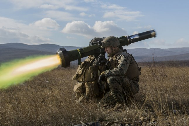 U.S. Marines fire a FGM-148 Javelin missile in 2016 during a live-fire exercise at the Novo Selo Training Area in Bulgaria. Four Javelin missiles were found in rebel hands in Libya, French officials said. File Photo by U.S. Marine Corps/Sgt. Michelle Reif/UPI