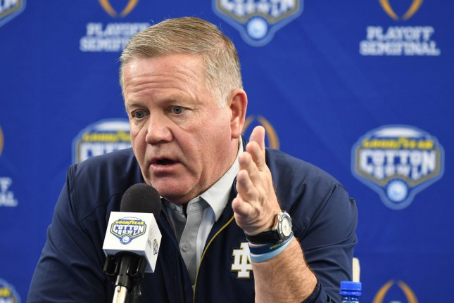 Notre Dame head coach Brian Kelly and the Fighting Irish opened their season with a win over Duke and beat South Florida 52-0 at home last week. File Photo by Ian Halperin/UPI