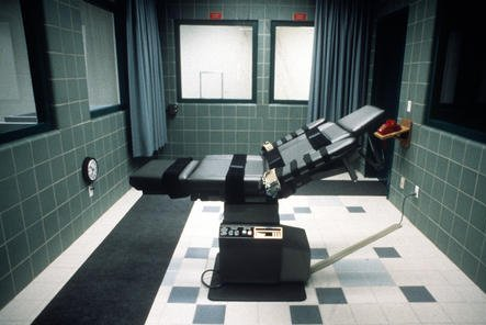 The federal execution chamber is seen at the United States Penitentiary in Terre Haute, Ind., where death row inmate Corey Johnson is scheduled to die by lethal injection on Thursday. UPI Photo/File
