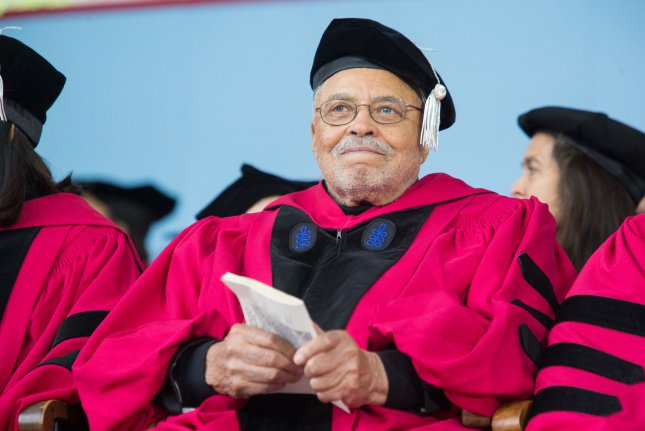 James Earl Jones smiles during the 366th commencement for Harvard University in Cambridge, Mass., on May 25. He turns 90 on January 17. File Photo by Matthew Healey/ UPI