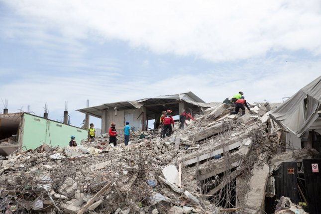 The death toll of the magnitude 7.8 earthquake in Ecuador reached 646 people on Saturday, according to President Rafael Correa. An additional 12,492 people were injured and 130 more remain missing after nearly 300 aftershocks and a second 6.5 magnitude quake struck the country.  Photo by Ezra Kaplan/UPI