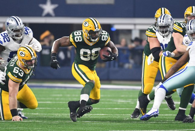 Green Bay Packers Ty Montgomery rushes for some of his 47 yards against the Dallas Cowboys in the NFC divisional playoff game at AT&T Stadium in Arlington, Texas on January 15, 2017. File photo by Ian Halperin/UPI