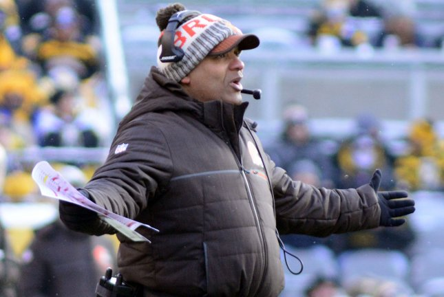 Cleveland Browns head coach Hue Jackson reacts to a roughing the passer call in the second quarter against the Cleveland Browns at Heinz Field in Pittsburgh on December 31, 2017. Photo by Archie Carpenter/UPI