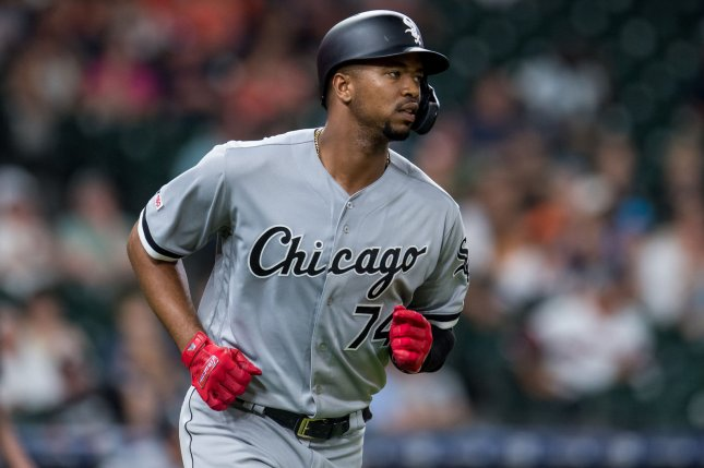 Star prospect Eloy Jimenez now has five home runs during his rookie campaign this season for the Chicago White Sox. Photo by Trask Smith/UPI