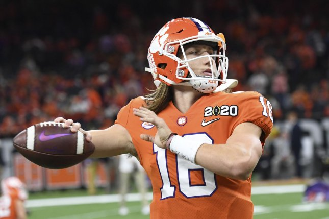 Clemson quarterback Trevor Lawrence will miss the Tigers' game against Boston College on Saturday due to the positive test. File Photo by Pat Benic/UPI