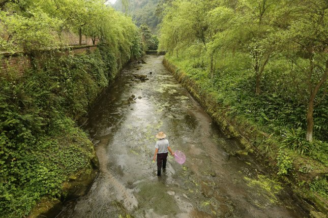 A man cleans a canal in the former mining town of Huangcun, China. Thursday's report says almost 90% of inland wetlands worldwide have disappeared since 1700. File Photo by Stephen Shaver/UPI
