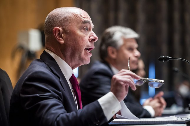 Secretary of Homeland Security Alejandro Mayorkas testifies during a hearing on terror threats in the Dirksen Senate Office Building on Tuesday. Pool Photo by Jim Lo Scalzo/UPI