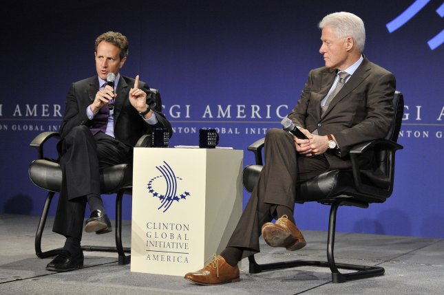 U.S. Treasury Secretary Timothy Geithner (L) and Former U.S. President Bill Clinton discuss issues relating to the economic recovery during the closing session of the CGI America meeting on June 30, 2011 in Chicago. More than 700 business, government and non-profit leaders participated in the two-day meeting, which is the first Clinton Global Initiative event to focus exclusively on driving job creation and economic growth in the United States. UPI/Brian Kersey