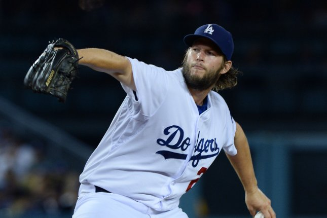 Los Angeles Dodgers' starting pitcher Clayton Kershaw threw a 1 hit shutout in the team's 8-0 victory over the San Francisco Giants, clinching the National League West. Photo by Jim Ruymen/UPI