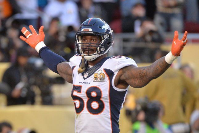 Denver Broncos Von Miller (58) celebrates a sack of Carolina Panthers quarterback Cam Newton for 11 yard loss forcing a fumble that turned into a Broncos touchdown in the first quarter of Super Bowl 50 in Santa Clara, California on February 7, 2016. Photo by Kevin Dietsch/UPI